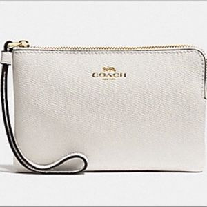 COACH Leather Corner Zip Wristlet Chalk/Gold NWT